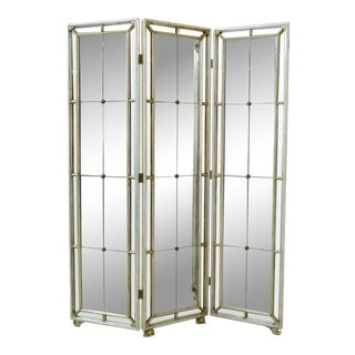 Maitland Smith Hollywood Regency Mirrored Room Divider Screen For Sale