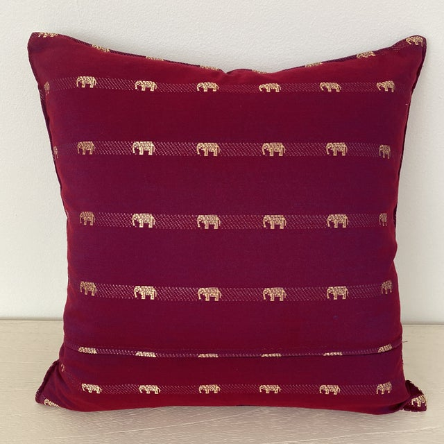 Magenta Thai Silk Pillow With Elephant Motifs For Sale - Image 4 of 12