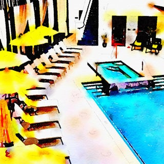 Seaside Villa Caribbean Style Poolside Swimming Pool Digital Watercolor Print From Original Color Photograph by Suzanne MacCrone Rogers For Sale