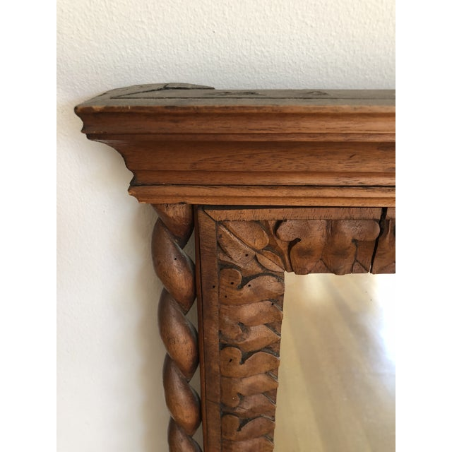 Jacobean 1800's Hand Carved Wood Frame Mirror For Sale - Image 3 of 4