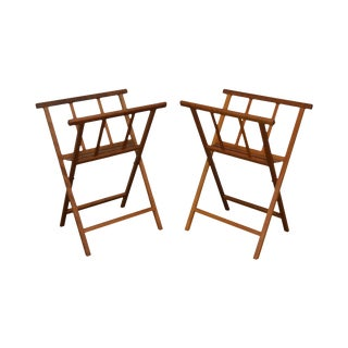 Danish Modern Style Pair Teak & Leather Folding Stands For Sale