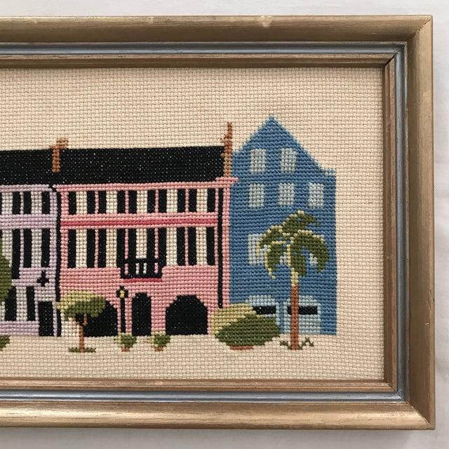 "Mid-Century ""Rainbow Row"" Framed Needlepoint Art For Sale - Image 4 of 5"