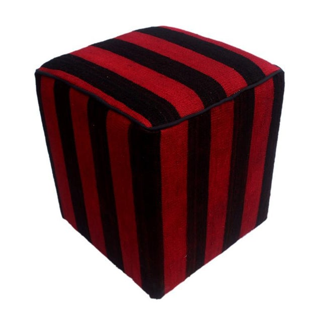 Red Arshs Domitila Red/Black Kilim Upholstered Handmade Ottoman For Sale - Image 8 of 8