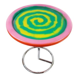 Neon Swirl Side Table With Chrome Base