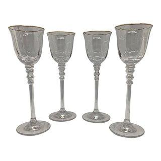 Vintage 1940s Tall Stemmed 24k Cordial Glasses - Set of 4 For Sale