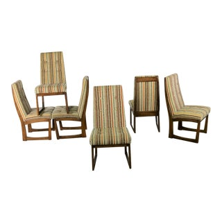 Mid Century Modern Lane Alta Vista Dining Chairs Set of Six Original Stripe Upholstery For Sale