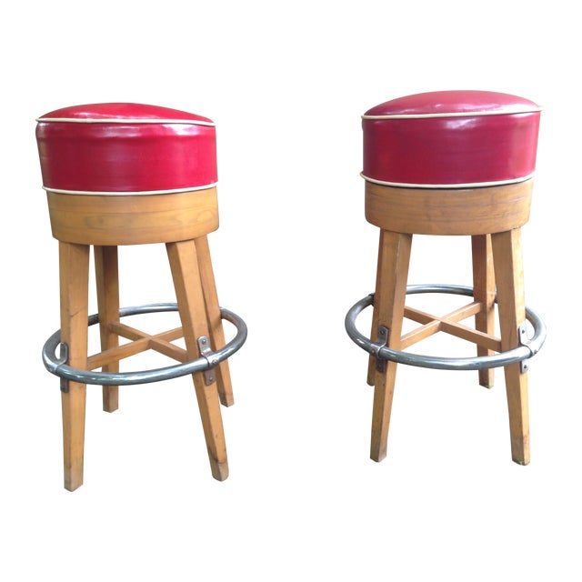 Vintage Thonet-Style Red Vinyl Bar Stools - A Pair - Image 1 of 4