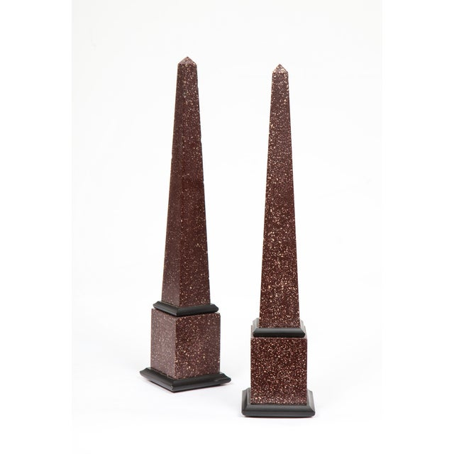 Glass Fine Pair of Italian Grand Tour Egyptian Porphyry Obelisks For Sale - Image 7 of 13