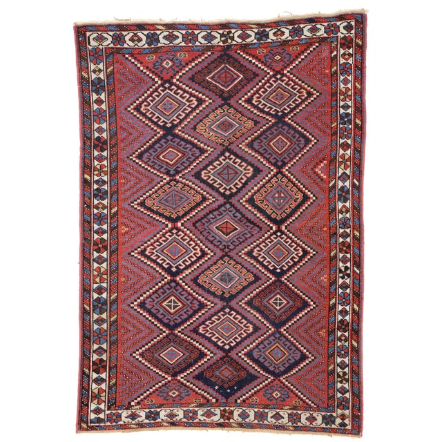 Early 20th Century Antique Persian Afshar Rug with Modern Tribal Style, 4'3x6' For Sale - Image 5 of 6