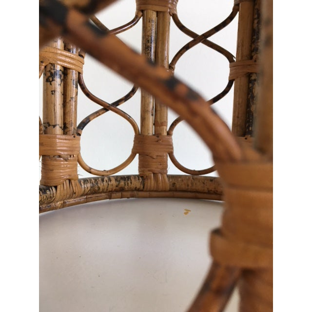 Brown 1970s Mid-Century Modern Tortoise Bamboo & Rattan Tabouret Side Table For Sale - Image 8 of 9