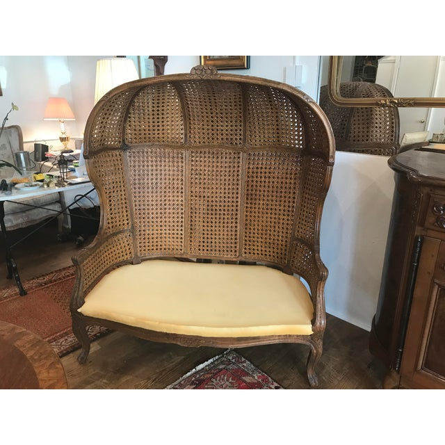Louis XV Style Double Canned Hooded Porter Settee For Sale - Image 13 of 13