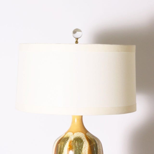 Pair of Yellow and Green Ceramic Drip Glaze Lamps, C. 1970 For Sale - Image 4 of 8