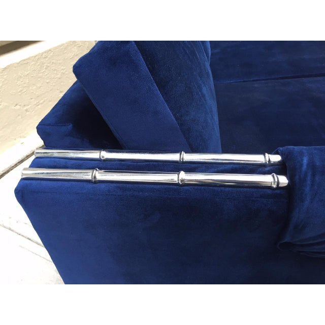 Textile Mid Century Modern Faux Bamboo Blue Velvet Sofa For Sale - Image 7 of 9