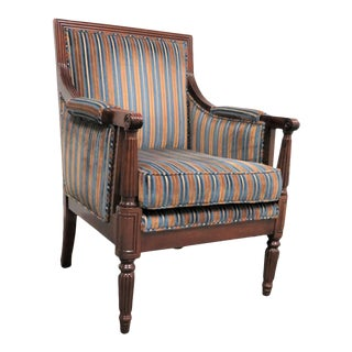 Regency Style Carved Mahogany Arm Chair
