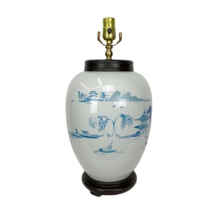 Chinoserie Blue & White Porcelain Vessel Lamp For Sale