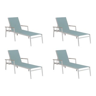Outdoor Sling Chaise Lounge, Vintage and Slate (Set of 4) For Sale