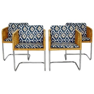 1960s Mid-Century Modern Harvey Probber Wicker Chrome Cantilever Bucket Chairs - Set of 4