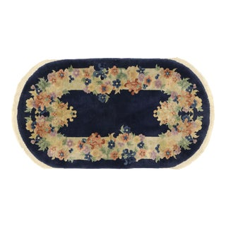 Antique Chinese Art Deco Style Oval Rug - 02'06 X 04'05 For Sale