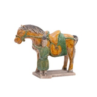 Chinese Tang Style Sancai Glazed Pottery Model of a Horse and Groom For Sale