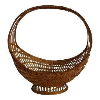 Vintage Vintage Circular Basket Woven Bread or Fruit Basket For Sale