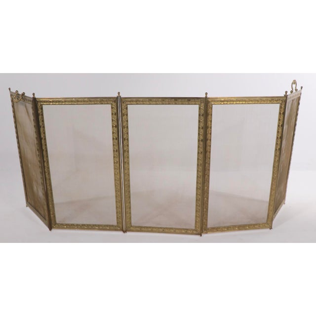 French Folding Fireplace Screen Spark Gard For Sale - Image 4 of 13