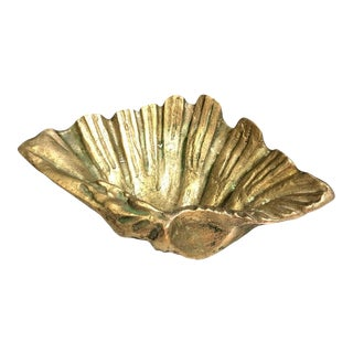 Vintage Solid Brass Shell Bowl For Sale