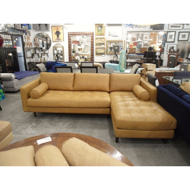 Tan Tan Leather Sectional Sofa, Right Chaise, Tufted Seating For Sale - Image 8 of 8