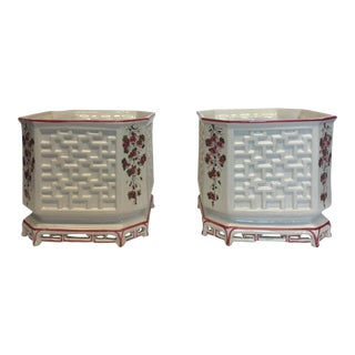 1960's Vintage Italian Ceramic Octagonal Garden Planters- A Pair For Sale