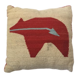 Woven Wool Bear Rug Pillow- 16x16 For Sale