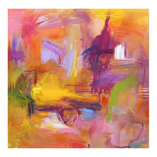 """Trixie Pitts' Large Abstract Oil Painting """"That Moment in Marrakesh"""""""