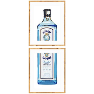 Gold Bamboo Framed Bombay Sapphire Gin Print Diptych - a Pair