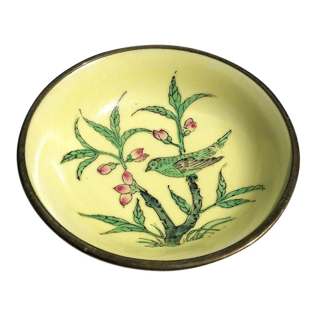 Lord and Taylor Chinoiserie Yellow Porcelain Dish With Brass Bottom For Sale