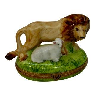 Vintage Limoges France Hand Painted Lamb & the Lion Box For Sale