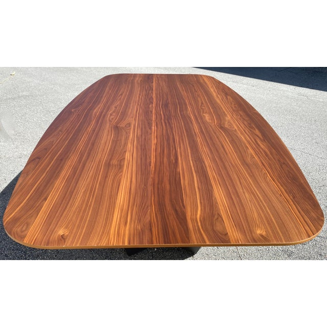 Walnut Dining Table With Stainless Steel Powder Coated Base For Sale - Image 4 of 9