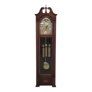 Herschede Mahogany Grandfather Weight Driven Hall Clock For Sale