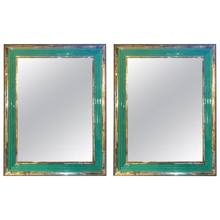 Pair of Art Deco Wall, Console or Pier Mirrors With Turquoise Beveled Frames For Sale