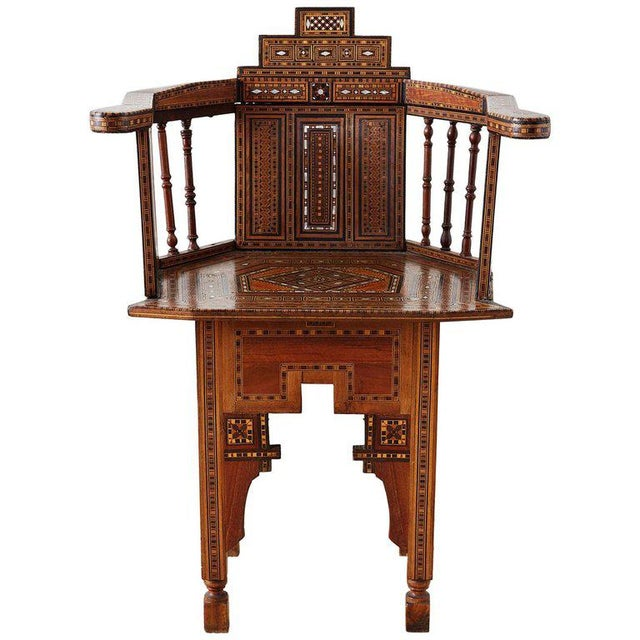 Syrian Armchair With Inlay Moorish Designs For Sale - Image 13 of 13