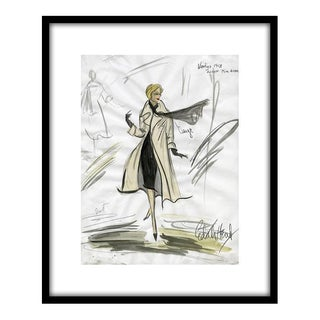 "Framed Reproduction Print of Original Costume Sketch by Edith Head of Kim Novak for ""Vertigo"" (1958)"