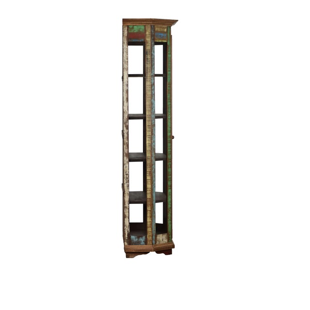 Display your favorite items in this very unique display cabinet. Accented with architectural crown molding across the top...