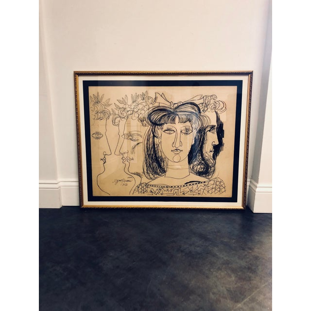 Gold 1952 Conte Crayon on Paper Expressionist Art For Sale - Image 8 of 8