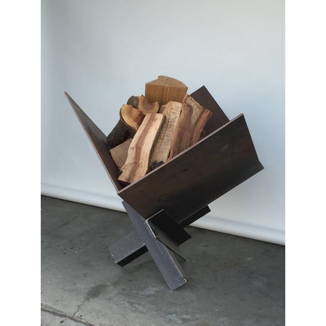 Brutalist Late 20th Century Large Patinated Steel Plate Brutalist Fire Pit or Log Holder For Sale - Image 3 of 7