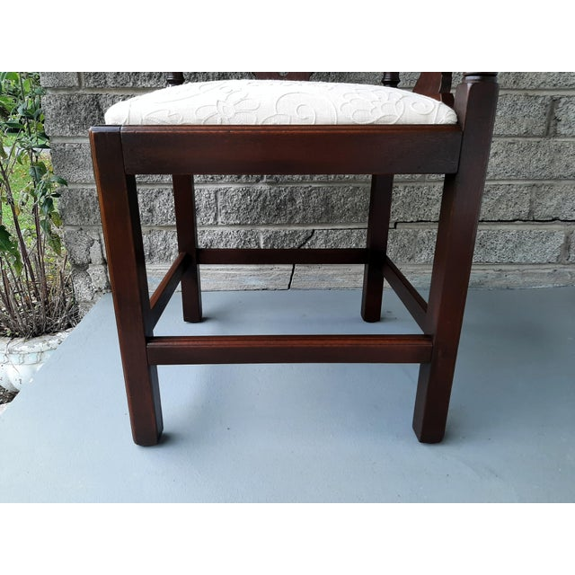 Wood The Bartley Collection Furniture Solid Mahogany Corner Chair Embroidered Linen Upholstered Seat For Sale - Image 7 of 13