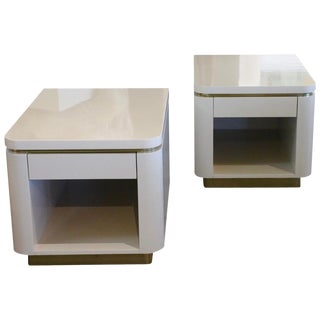 Pair of Steve Chase Designed Lacquer and Brass Nightstands For Sale