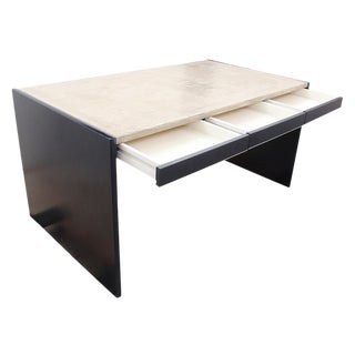 Contemporary Solid Wood and Concrete Modernist Writing Desk For Sale
