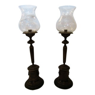 Bronze Decorative Tall Candle Holders With Globes - a Pair For Sale