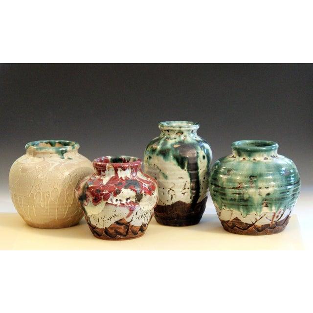 Awaji Pottery Manipulated Jar Heavy Drip Lava Glaze Wabi Sabi Tea Ceremony Vase For Sale - Image 11 of 12