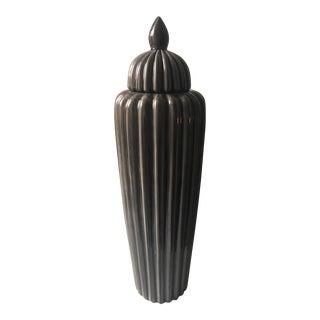 Tall 1980's Modernist Lidded Floor Urn For Sale