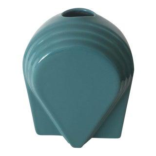 Vintage 1980's Post Modern Memphis Style Aqua Teal Blue Ceramic Vase For Sale