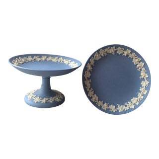 1920s Vintage Wedgewood Blue Jasper-Ware Tazzas-A Pair For Sale