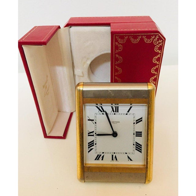 Art Deco Cartier Two-Tone Gold and Steel Tank Desk Clock For Sale - Image 3 of 13